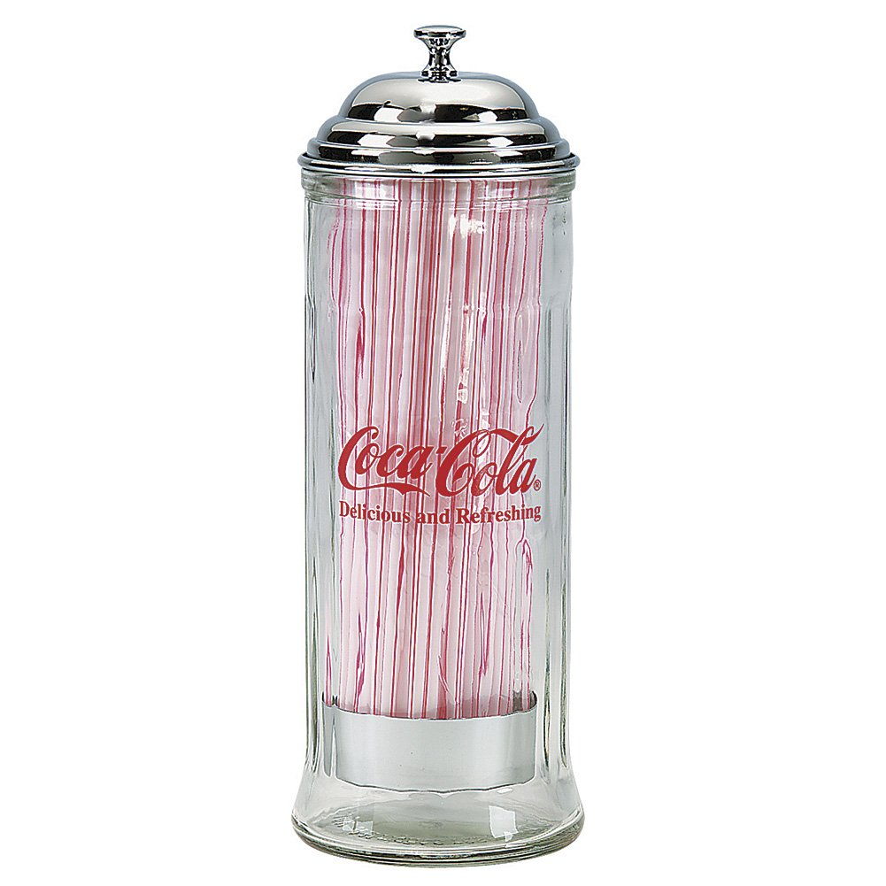 Tablecraft 11-in. Diner Collection Old Fashioned Straw Dispenser W/Straws - Chrome Top - Coca-Cola - 11H x 4.25W inches Table Craft 664K