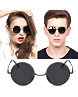 Retro Metal Frame Mirrored Round Polarized Sunglasses For Womens Mens