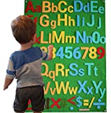 Felt Flannel Board Alphabet Letters Numbers Symbols Deluxe Set Giant 3.5 Feet 150+ Pieces Upper Lower Case w/ Math Symbols Wall Hanging Interactive Play Kit Story DIY Quiet Book No Magnets Needed