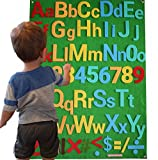 Felt Flannel Board Alphabet Letters Numbers Symbols Deluxe Set Giant 3.5 Feet 150+ Pieces Upper Lower Case w/Math Symbols Wall Hanging Interactive Play Kit Story DIY Quiet Book No Magnets Needed