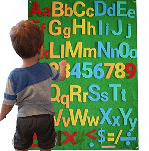 Felt Flannel Board Alphabet Letters Numbers Symbols Deluxe Set Giant 3.5 Feet 150+ Pieces Upper Lower Case w/Math Symbols Wall Hanging Interactive Play Kit Story DIY Quiet Book No Magnets Needed -