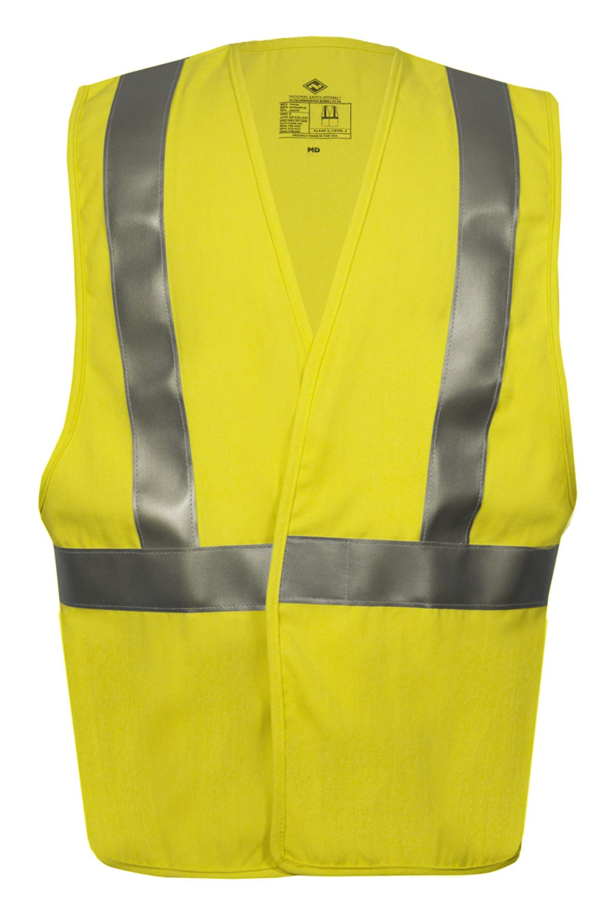 National Safety Apparel V20TV2VXL Contractor Class 2 FR Hi-Vis Safety Vest, X-Large, Fluorescent Yellow