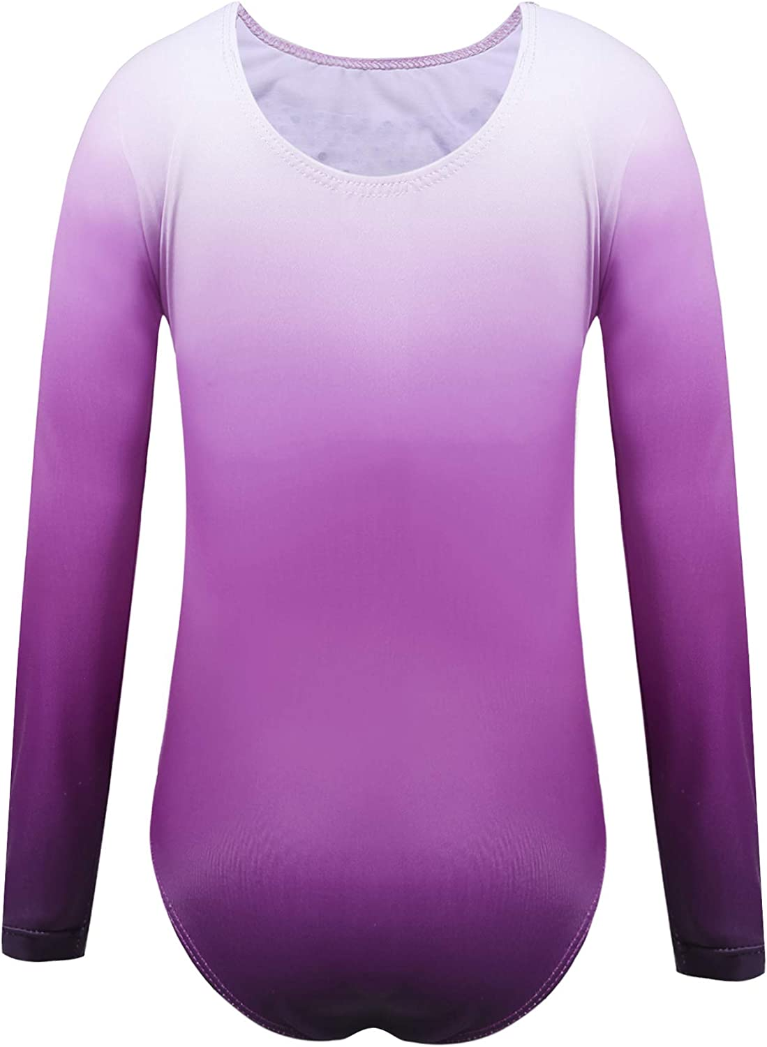 Zaclotre Kid Girls Gymnastic Leotard Long Sleeve Color Gradient Sparkly Ballet Dance One Piece Outfit