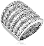 Sterling Silver White Cubic Zirconia Cigar Band Ring, Size 7