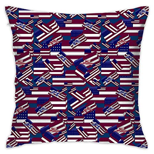 America Quilted Throw - Uwwrticm America Flag Gift Wallpaper Decorative Throw Pillow Cases Cushion Pillowcase Cover 18 X 18 Inches for Living Room Bedroom Car