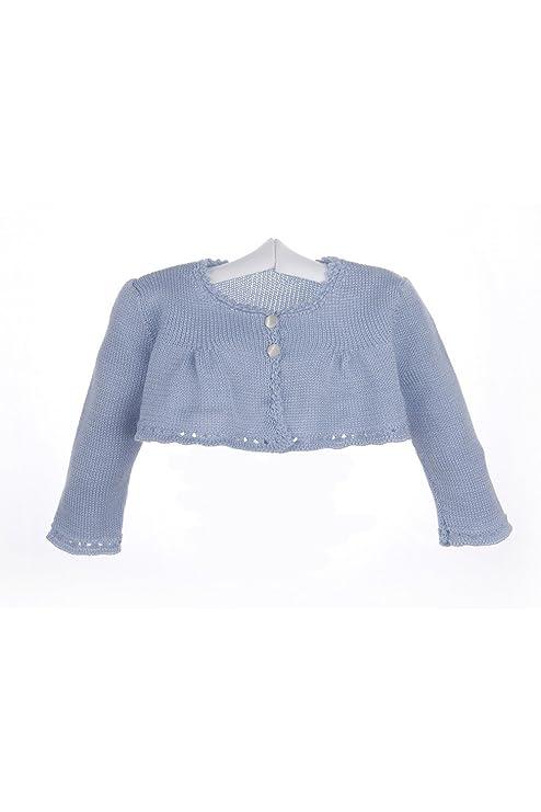 Isabel Maria - Chaqueta para bebé de algodón rematada con ganchillo - 3 meses, Azul
