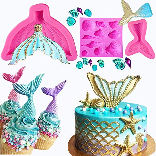 Set of 3 JeVenis 3D Big Mermaid Tail Mold Mermaid Silicone Fondant Mold for Cake Decoration Chocolate Candy Mold Soap Mold Baking Tool Jello Mold Cupcake Topper Ice Tray