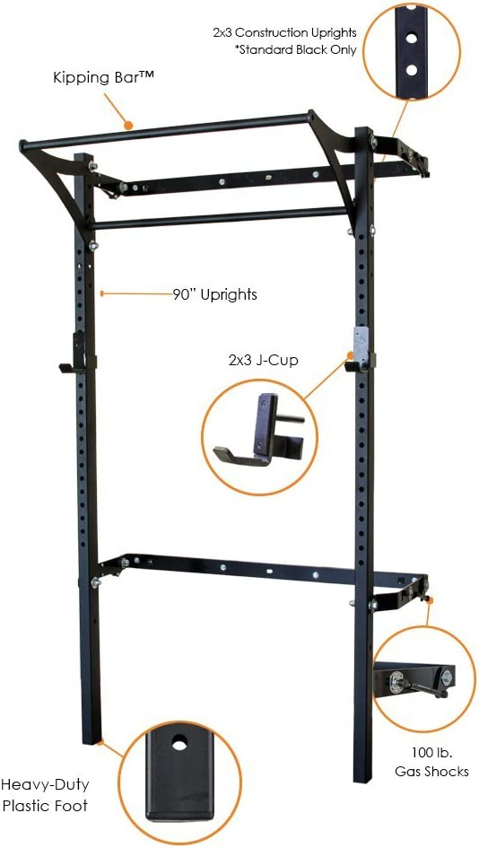 PRx Performance Profile Squat Rack 2 x3 with Kipping or Pull Up Bar, Wall Mounted Home Gym Folding Fitness Equipment Power Rack, Shark Tank Company