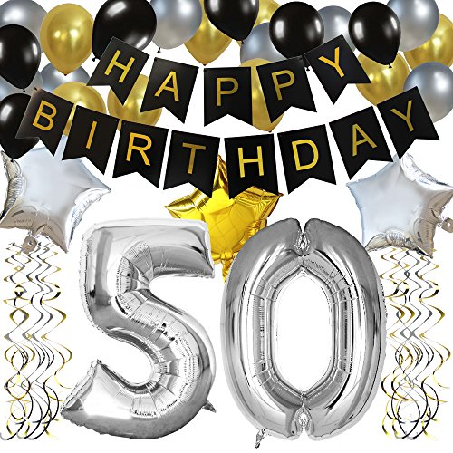 KUNGYO Classy 50TH Birthday Party Decorations Kit-Black Happy Brithday Banner,Silver 50 Mylar Foil Balloon, Star, Latex Balloon,Hanging Swirls, Perfect Fifty Years Old Party Supplies