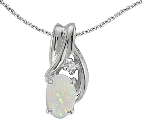 """10k White Gold Oval Opal And Diamond Pendant with 18/"""" Chain"""