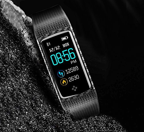 LEMFO Fitness Tracker Colour Screen Heart Rate Monitor Swimming Waterproof Activity Tracker Smartband Sleep Monitor Pedometer color Smart Bracelet Wristband for IOS Android (Black)