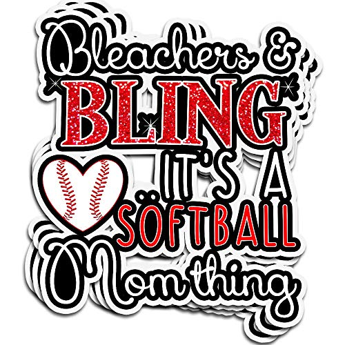 Lucky Star 3 PCs Stickers Bleachers and Bling Its A Softball Mom Thing 4 × 3 Inch Die-Cut Wall Decals for Laptop Window