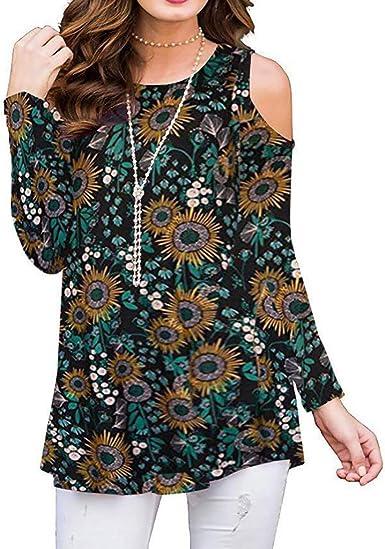 Camiseta Mujer Flores Manga Larga Camisa con Hombros Descubiertos Blusa túnica Casual Tops Cuello Redondo Tirantes Elegante Verde M: Amazon.es: Ropa y accesorios