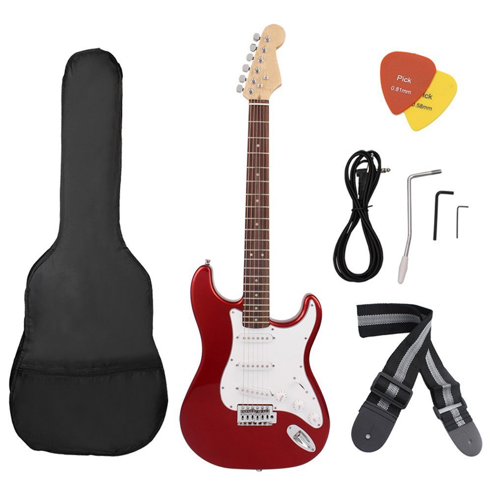 6 String Electric Guitar Set with Carrying Bag Tuner Strap Musical Instrument for Beginner Butterfly