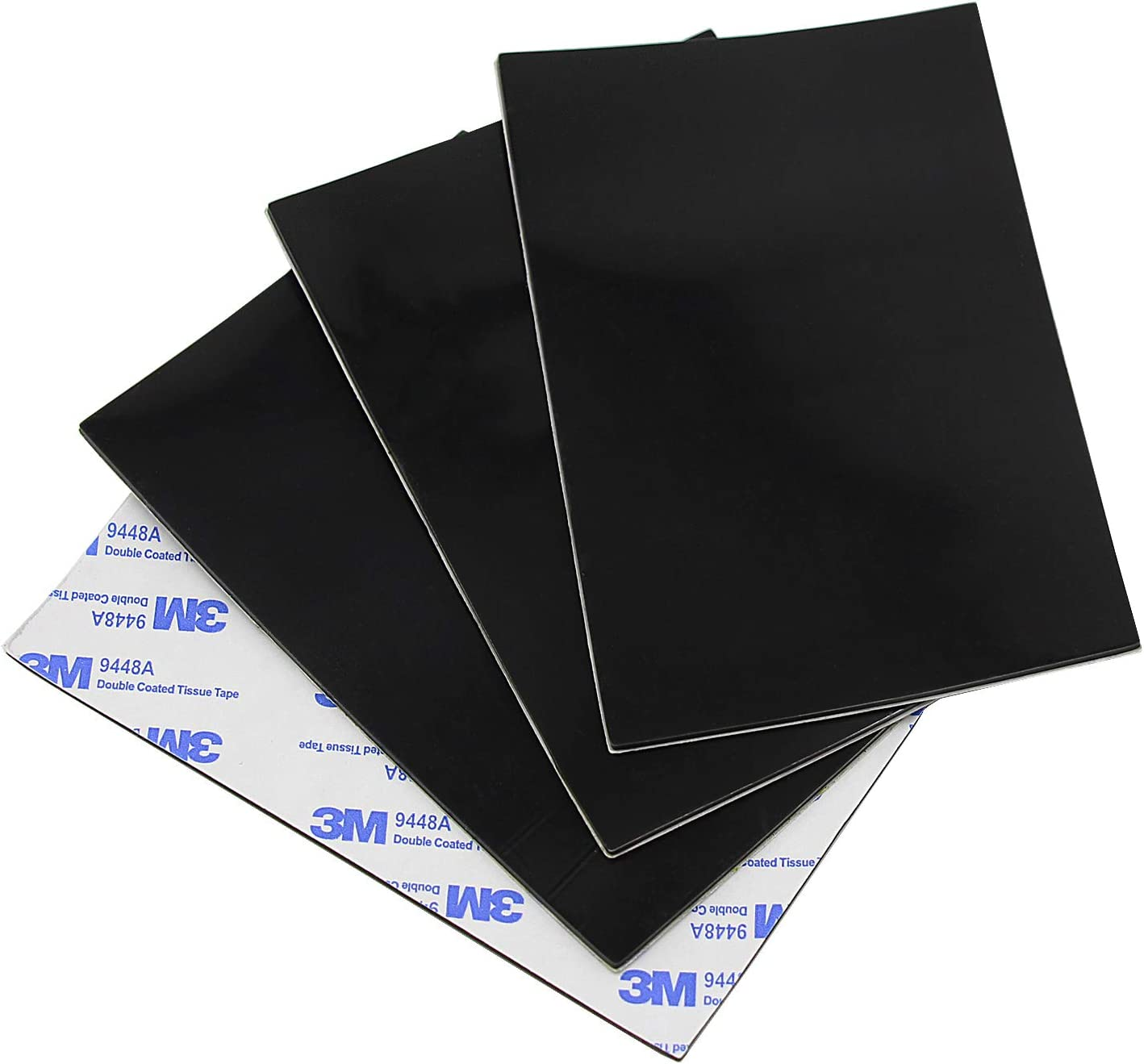 4 Pack of Rubber Pads Non Slip Furniture Pads Floor Protectors with Self Adhesive Back Glue, 1/12 inch Thick Rubber Sheet Silicone Gasket Material Non Skid Furniture Grippers - Black