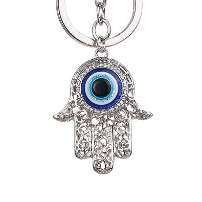 Llavero con diseño de mano de Fátima y brillantes de cristal plateado. Llavero joya de bolso de mano de Fátima con estrás, llavero de buena suerte, ...