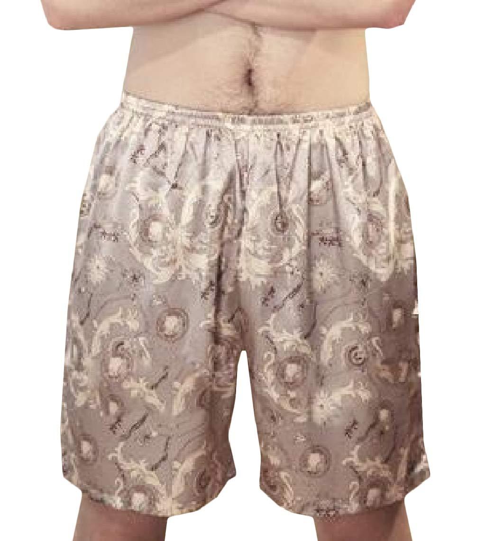 LinkShow Mens Print Silk Relaxed-Fit Comfort Pajama Pants Pattern10 XL