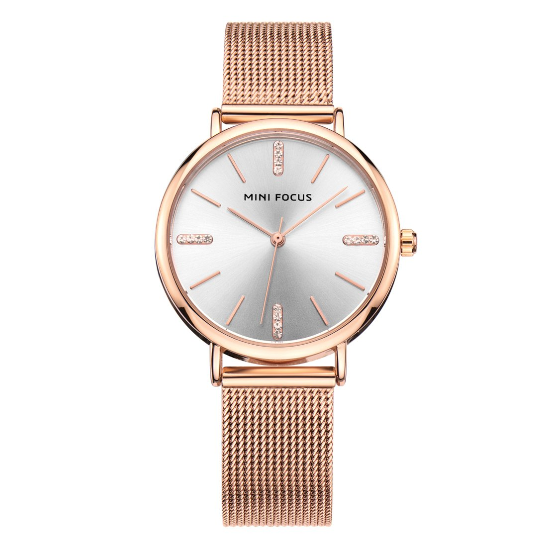 Womens Quartz Watch, Rose Gold Business Casual Fashion Analog Wrist Watches, Waterproof 30M Water Resistant Comfortable Mesh Band Watches