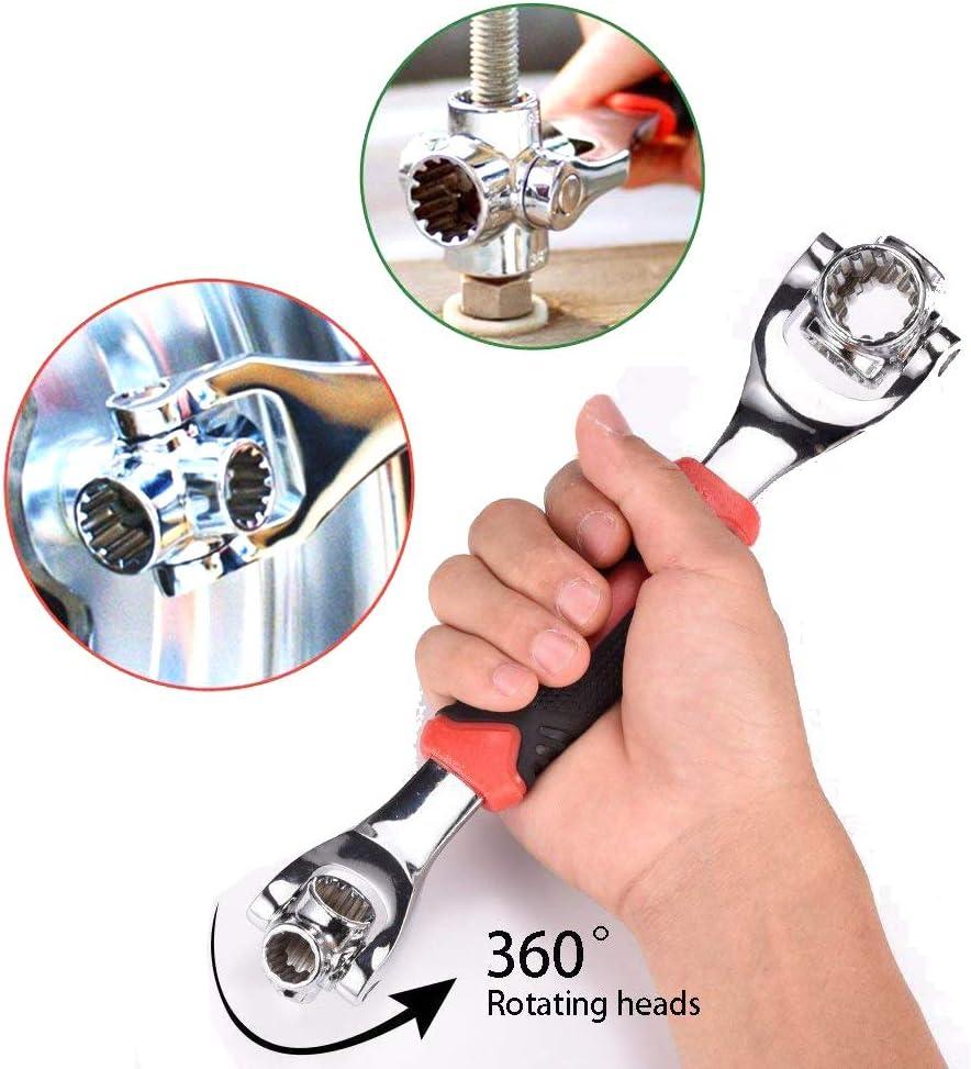 Llave inglesa universal 48 en 1 con cabezal giratorio de 360 grados herramienta de llave para reparaci/ón del hogar y el coche