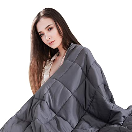 ONSON Weighted Blanket, Cooling Weighted Blankets for Adult and Kids 12 lbs  | 48''x72''|,Natural Cotton with Lead-Free Glass Beads