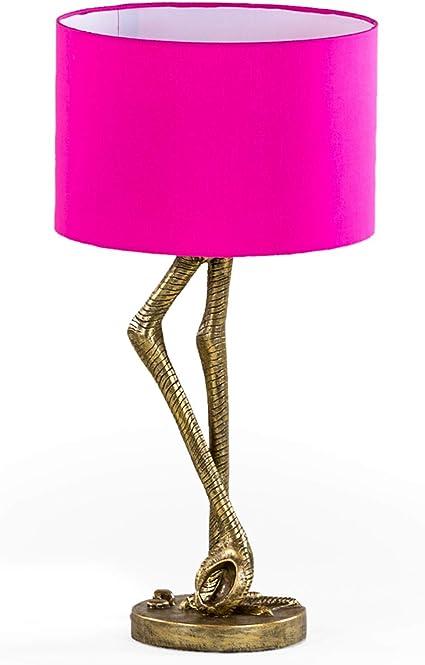 Funky Antique Gold Flamingo Leg Table Bedside Lamp Bright Pink Shade Amazon Co Uk Lighting