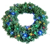 "24"" Wreath with 50 Multi-Color LED lights 250 Tips - Battery Operated Timer by Merske"