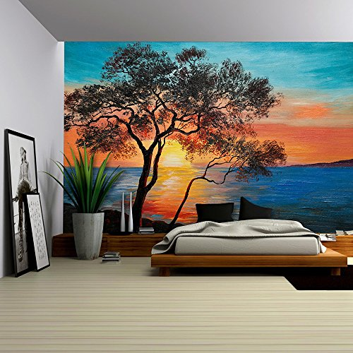 Oil Painting Tree near the Lake at Sunset Wallpaper;