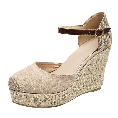 015ecfc316d00d Manadlian Femme Chaussures Compensées Chic Sandale Espadrille Lanière  Cheville Escarpins Talon Compensé Plateforme Femme Sandales Été