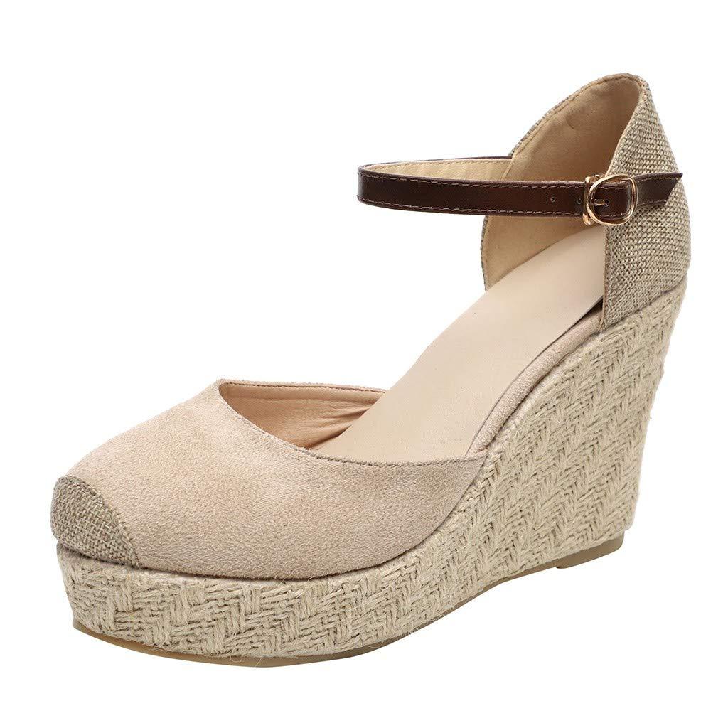 Kauneus  Womens Espadrille Platform Wedges Ankle Strap Cap Toe Mary Jane D'Orsay Heeled Sandals Beige