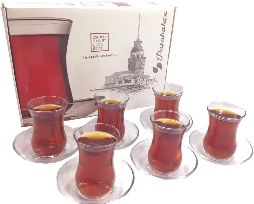 Pasabahce Turkish Tea Glasses and Saucers Set - 6 Glasses 6 Saucers