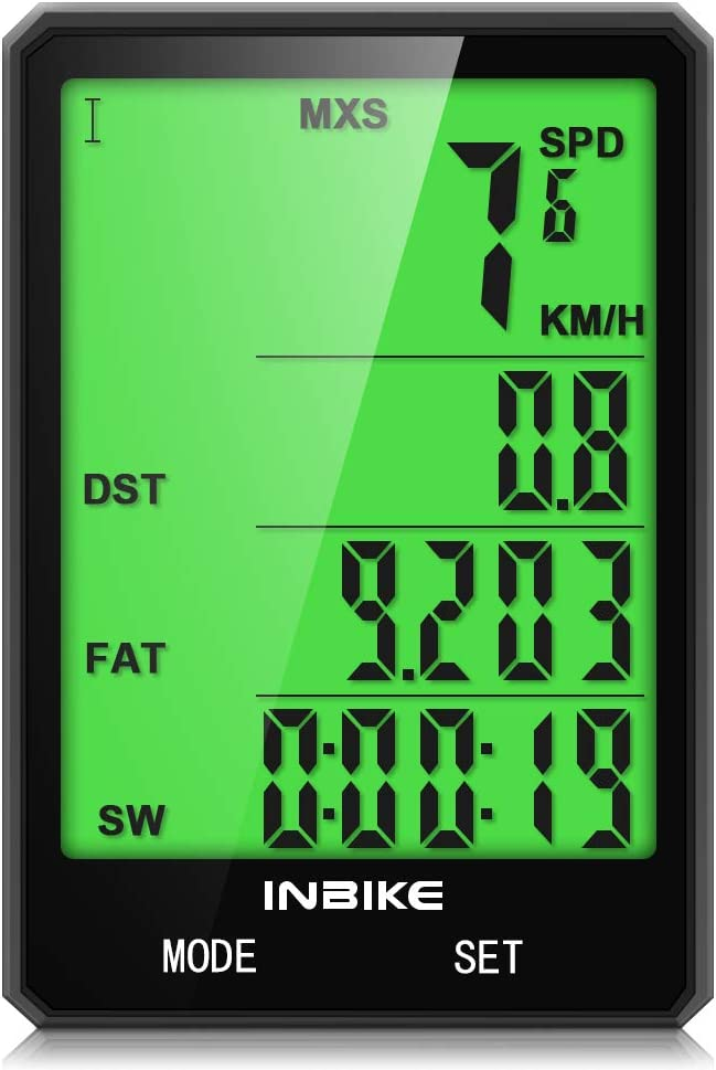 Bike Computer, Bicycle Speedometer IPX6 Waterproof Bike Odometer Speedometer with Large Backlight LCD Display, Bicycle A B, Wake up Automatically, Calorie Counter