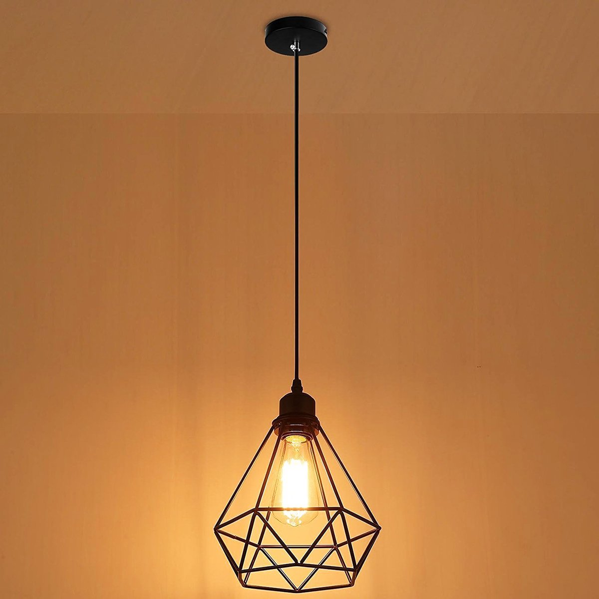 Vintage Wire Cage Pendant Light Mklot Industrial Metal Lamp Guard Wiring A Plug To Fixture In Ceiling Chandelier Lighting