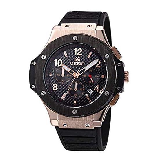 Megir 3002rosegold - Reloj para Hombres, Correa de Goma: Amazon.es: Relojes