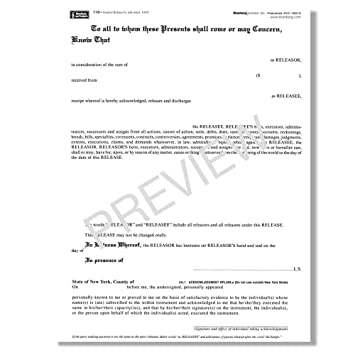 Blumberg New York Legal Forms (Form 110 2 Pages 48 Per Pkg., General  General Release Forms