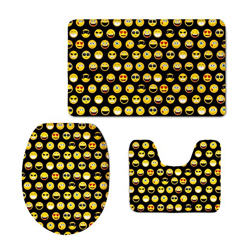 - Coloranimal Fashion Bathroom Rug Set Emoji Prints 3 Piece Includes Pedestal Rug/Lid Toilet Cover/Bath Mat