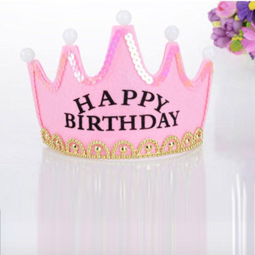 Tiaras de fiesta de cumpleaños con luz led corona artesanía para fiesta de cumpleaños (rosa)