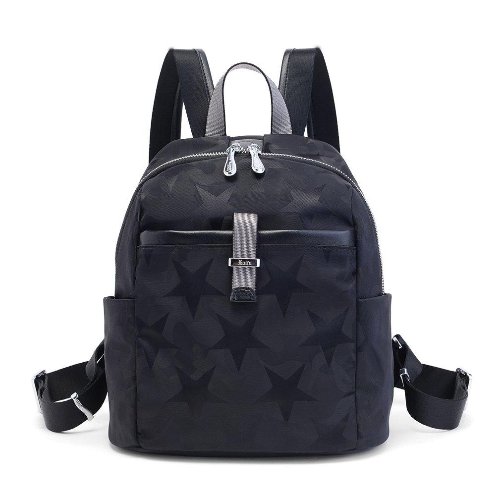 Laifu Women's Nylon Backpack Student Schoolbag Casual Daypack Shopping Travel Sport (black)