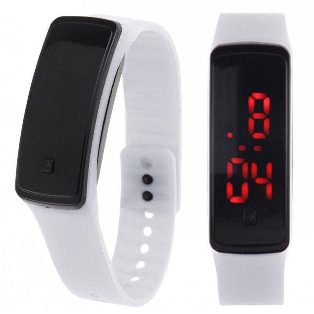 acamifashionメンズレディースファッションデジタルLED表示スポーツJellyシリコンバンド腕時計 ホワイト B07C3SD1RD ホワイト ホワイト