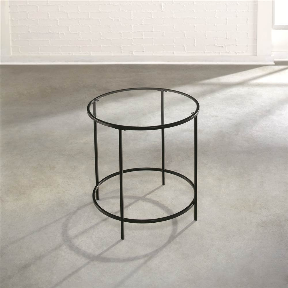 Amazon Sauder Soft Modern Round End Side Table Black Clear Glass Kitchen Dining