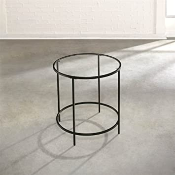 Sauder Soft Modern Round End/Side Table, Black/Clear Glass
