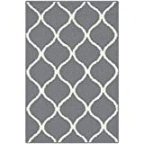 Maples Rugs Kitchen Rug - Rebecca 2'6 x 3'10 Non Skid Small Accent Throw Rugs [Made in USA] for Entryway and Bedroom, Grey/White
