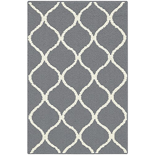 Maples Rugs Kitchen Rug - Rebecca 2'6 x 3'10 Non Skid Small Accent Throw Rugs [Made in USA] for Entryway and Bedroom, Grey/White by Maples Rugs