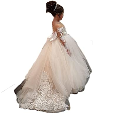 444002737 Amazon.com: YEVEM Princess Long Sleeves Lace Appliques Flower Girl Dresses  with Sweep Train Ball Gown Girls Wedding Prom Party Gowns: Clothing