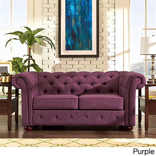 Knightsbridge Purple Linen Tufted Scroll Arm Chesterfield Loveseat Sofa