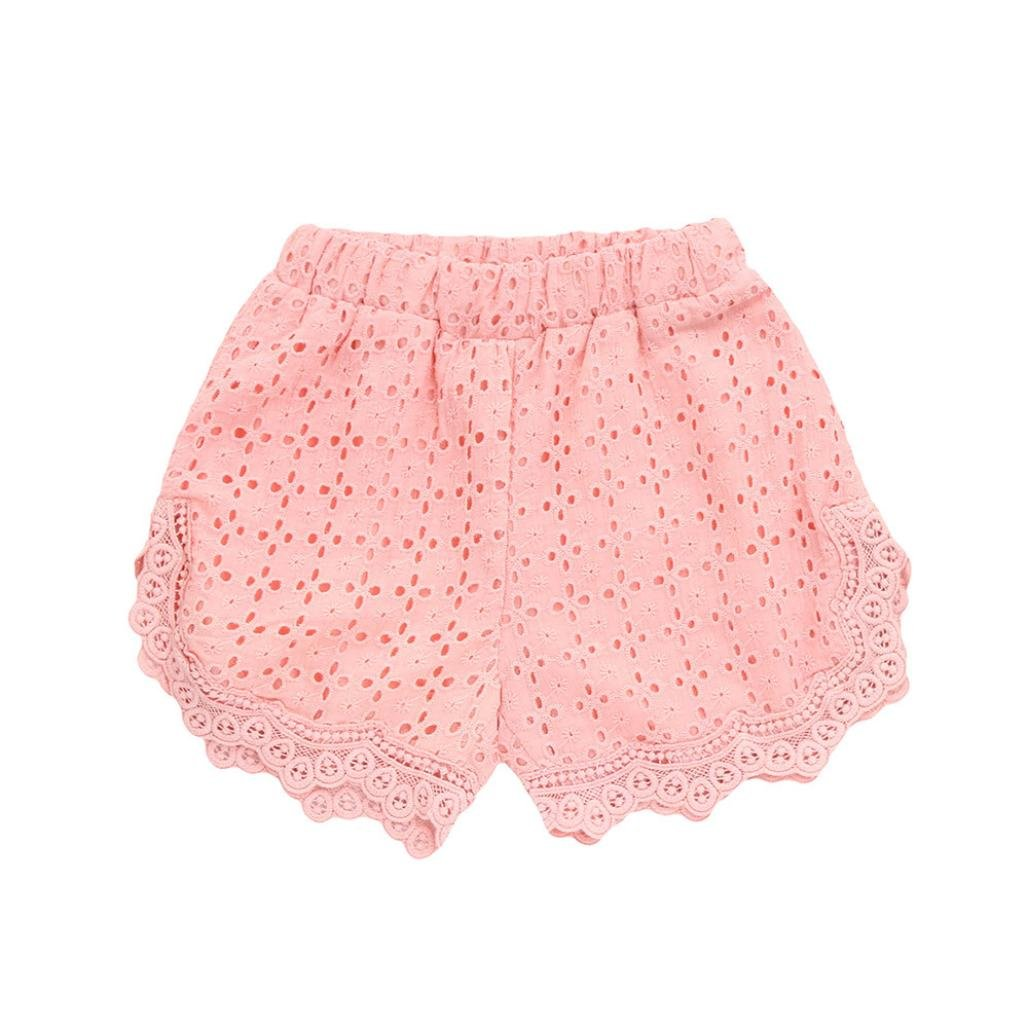 Kingko_ Baby Girls Kids Summer Retro Elegant Hollow Lace Cotton Breathability Shorts Short Beach Pants KINL-NP9367