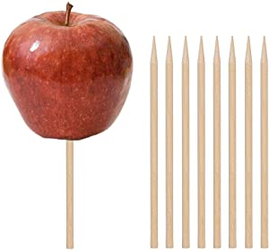 HANSGO Wooden Candy Apple Skewer Sticks, 6mm 5.25inch Birch Bamboo BBQ Caramel Apple Sticks Cotton Candy Stick Rock Candy Stick Skewer Semi Pointed Lollipop Sticks Barbecue Corn Dog