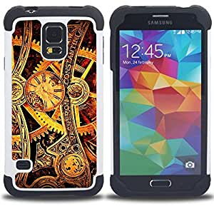 Dragon Case- Dise?¡Ào de doble capa pata de cabra Tuff Impacto Armor h??brido de goma suave de silicona cubierta d FOR Samsung Galaxy S5 I9600 G9009 G9008V- GEARS WATCH TIME WHEELS GOLD MECHANIC