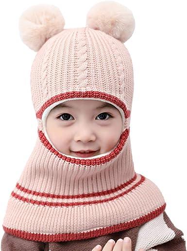 ROSEBEAR Kids Winter Hat Child Knit Earflap Warm Cap Windproof Fleece Lined Hood for 2-5 Years Girls Boys Pink