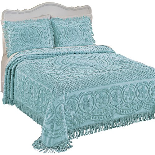 Collections Etc Calista Chenille Lightweight Bedspread with Fringe Border, Turquoise, Full