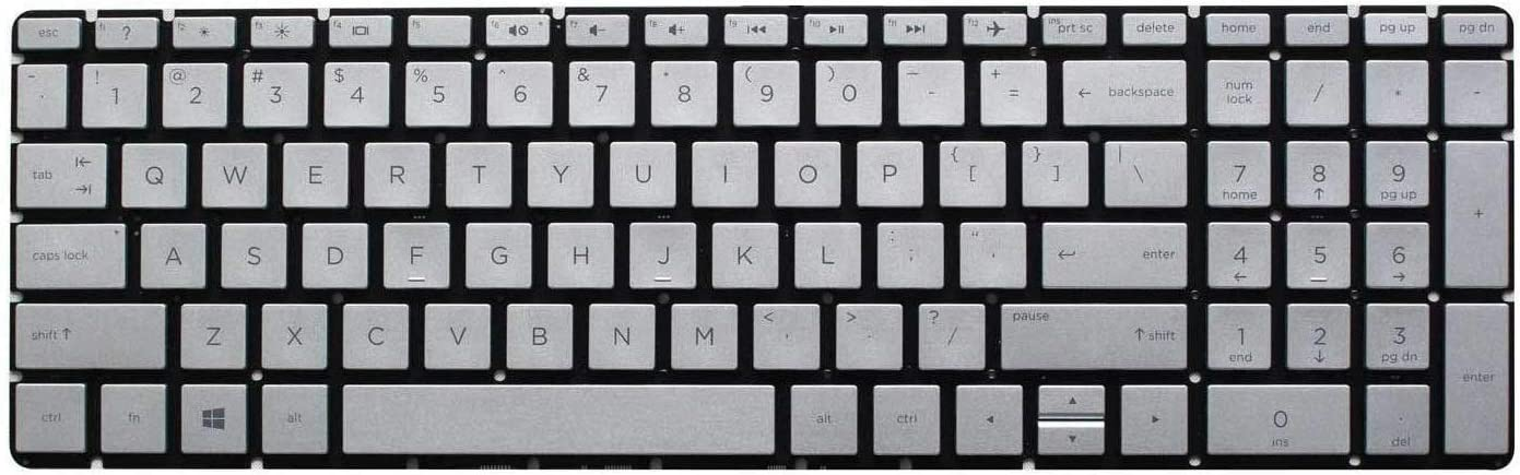 US Layout Silver Color Givwizd Laptop Replacement Non-Backlit Keyboard for HP PN L20848-001